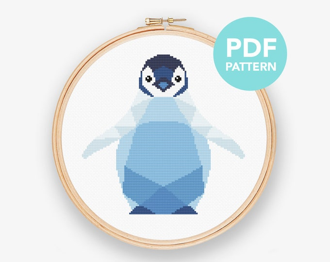 Modern cross stitch pattern, Cross stitch pattern PDF, Penguin baby cross stitch pattern, Geometric cross stitch, Nursery cross stitch pdf