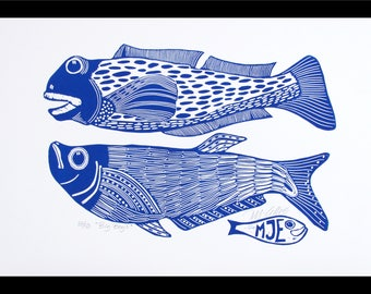 linocut, Big Boys, fish, blue and white, navy blue, fishing, gift for him, printmaking, beach house, blue, white, home interior, seaside