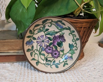 Purple Flower Wall Hanging, Decorative Wall Dish, Purple Flower Decorative Dish, Purple Nursery, Gallery Wall