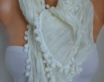 Light yellow Pompom Scarf, Summer Fashion, Cowl Scarf, Bridesmaid Gift, Gift Ideas For Her, Women's Fashion Accessories