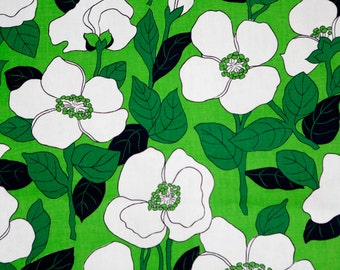 Vintage Waverly large kelly green and white floral fabric -60's green ground w large white flowers upholstery decor fabric