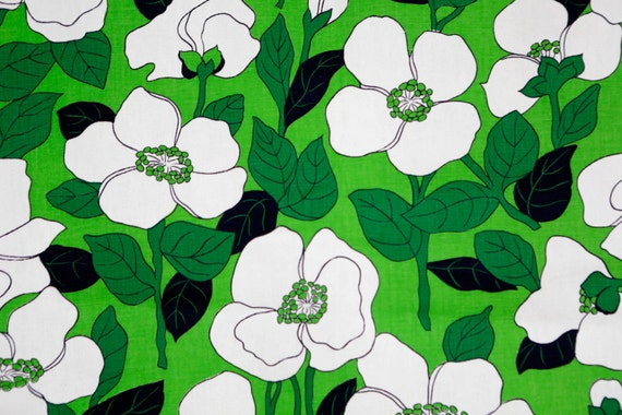 Vintage Waverly large kelly green and white floral fabric -60\'s ...
