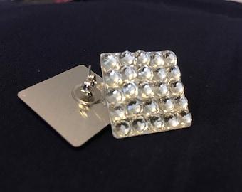 Glass Crystal Earrings, pierced