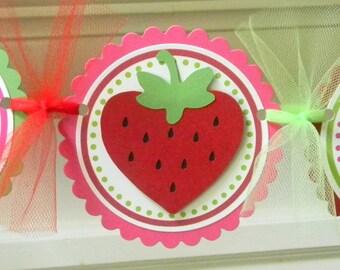 Strawberry Happy Birthday Party Banner ~ Red, Green, & Fuchsia
