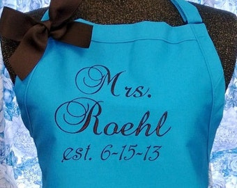 Turquoise Apron Personalized Mrs. Name Wedding Shower Gift