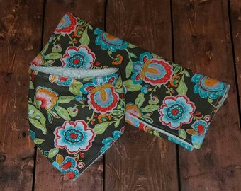 Flower Paisley polka dot bandana bib and burp cloth set