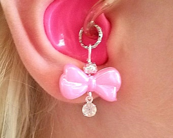 Hearing Aid Charms:  Pretty Pearlescent Bows with Rhinestone Dangles with Silver Plated Accent Bead!  Also available in Mother Daughter Set!