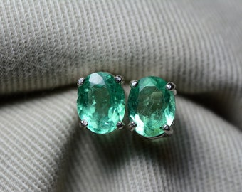 Emerald Earrings, Colombian Emerald Stud Earrings 2.08 Carats, Appraised at 1,650.00 Sterling Silver,Real Natural, May Birthstone, Oval Cut