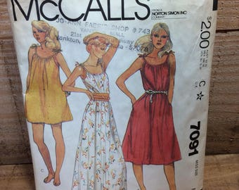 Vintage McCalls pattern 7091, 2.50 US standard shipping, 1980 sewing pattern from McCalls, flared pullover dress in three lengths