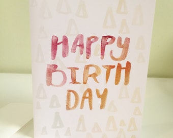 Happy Birthday card, birthday greeting card, brush lettering card, red, orange, typography card, birthday card, simple birthday card