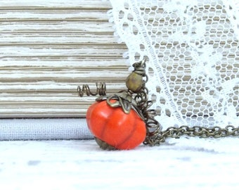 Small Pumpkin Necklace Fall Pumpkin Necklace Woodland Charm Necklace Pumpkin Jewelry Pumpkin Gift
