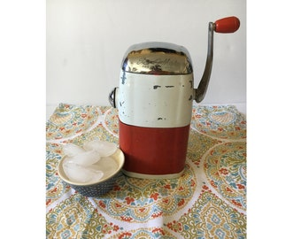 SALE! Vintage Rival Ice O Mat, Ice Crusher, 1950s Kitchen, Red and White Vintage Kitchen Appliance, Vogue model, Barware, Retro, Crushed Ice