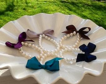 Flower Girl Pearl bracelet  pearl and ribbon flower girl gift birthday gift baby or girls photo prop custom made