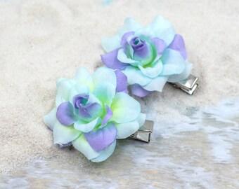 Rose Flower Hair Clip, 2 inch, Fabric   Flower Hair Clip,    Hair Accessory, Rose, One Pair