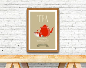 Poster vintage with french design, old red tea pot , french style poster.