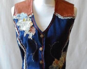 Vintage 1990s Denim Evolution Denim and Leather Floral Bohemian Cowgirl Vest, 1990s Vest, Leather and Denim, Retro, Denim Evolution. CO