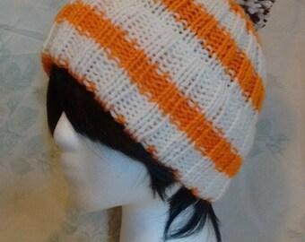 Orange And White striped Hat