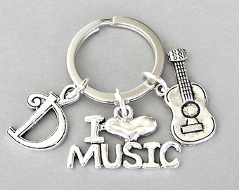 Acoustic guitar keyring, personalized guitar with initial, I love music charm, unisex musician gift, Father's Day, musical instrument charm