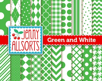 Emerald Green Digital Scrapbook Papers in Graphic Patterns - for Scrapbooking, Card Making and Invitations - Instant Download