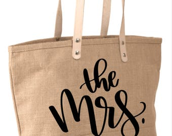 Mrs Tote, Just Married, Bride Tote, Bride Gift, Engagement Gift, Bridal Shower Gift, Mrs, Honeymoon Tote, Honeymoon Bag, Honeymooning,