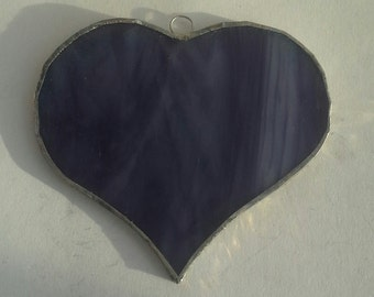 Stained glass deep purple heart suncatcher