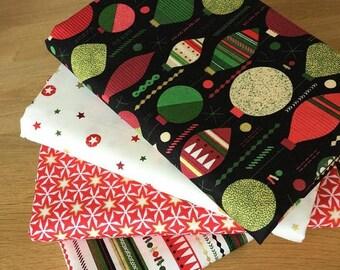 MODERN METALLIC CHRISTMAS Fat Quarter Bundle {D} by Makower Fabrics