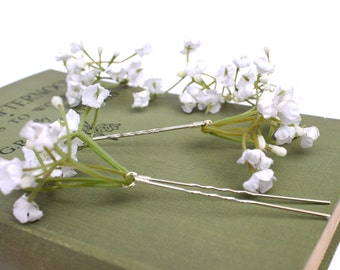 Gypsophila Hair Pins, Babys breath Wedding Hair Pins, Bridal Hair Accessories, Bridesmaid Hair Pins, wedding hairpin, bridal hair pins