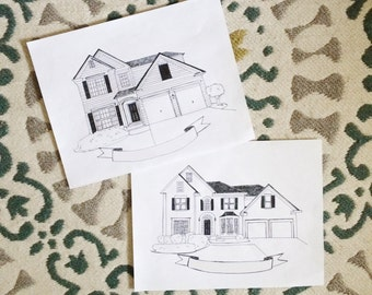 Custom Home Sketch - DIGITAL PRINT