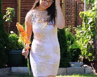 Crocheted dress beige, made to order, crochet handmade, spring dress, summer dress, lace dress, bridal gown, Dress crochet, wedding gown