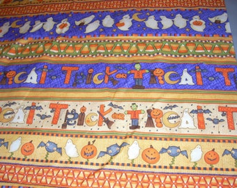Halloween - Trick or Treat stripes -  Cotton fabric -  37 1/2 inches  long by 44 inches wide