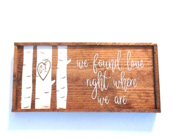 PERSONALIZED custom made couples wedding gift.  Made to order wooden sign with birch trees and couples initials.  We found love.