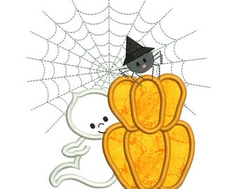 Applique Halloween Ghost Pumpkin Spider Web Machine Embroidery Designs 4X4 and 5X7 Included - Instant Download Sale
