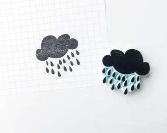 Rainning Cloud stamp. hand carved stamp. rubber stamp. mounted.