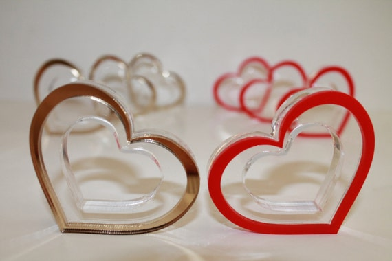 Wedding Napkin Rings, Red and Gold Napkin Rings in Hearts, Wedding Table Decor, Wedding Decoration, Napkin Ring Holders, Set of 12 Rings