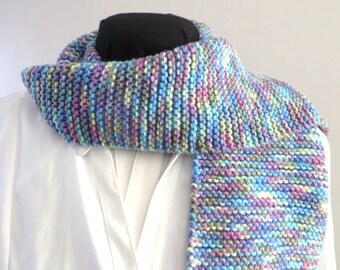 Hand Knit Pastel Scarf, Tassel Scarf, Womens Scarf, Clearance Sale