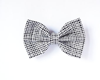 Black and White Hair Bow.  Checkered Hair Bow. Striped Hair Bow Barrette Clip or Hair Elastic. Bow Ponytail Holder in Black and White.