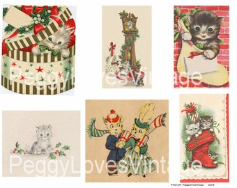 Christmas Kittens 1 Digital Collage from Vintage Christmas Greeting Cards -  Instant Download - Cut Outs
