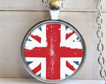 Union Jack Art Pendant, British Flag Pendant, Silver and Glass Cham Necklace