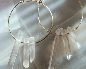 Self Closing Brass Hoops with Crystal Quartz