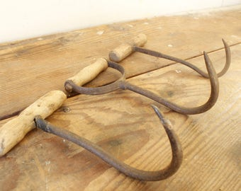 Collection of Primitive Hay Hooks Wood Iron Vintage Farmhouse Decorating Display Rustic Coat Towel Hook Industrial Farm Tools Salvage