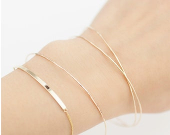 Personalized name bracelet solid 14k gold bar, Personalized curved gold bar bracelet, Engraved Script, thin dainty minimal bracelet