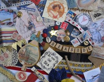Victorian Seaside Jumbo Vintage Inspiration Kit - 188 Pieces - Antique Papers, Lace, Ribbons, Ephemera Supplies - Sailing, Ships, Beach