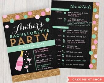 Bachelorette invitation and itinerary, pink bachelorette invite, 2 sided bachelorette, gold glitter, mint bachelorette, hens party invite
