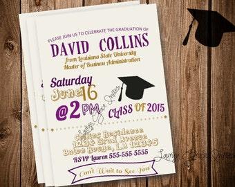 Purple and Gold Graduation Invitation, DIY printable grad invite, digital download, custom graduation invitation