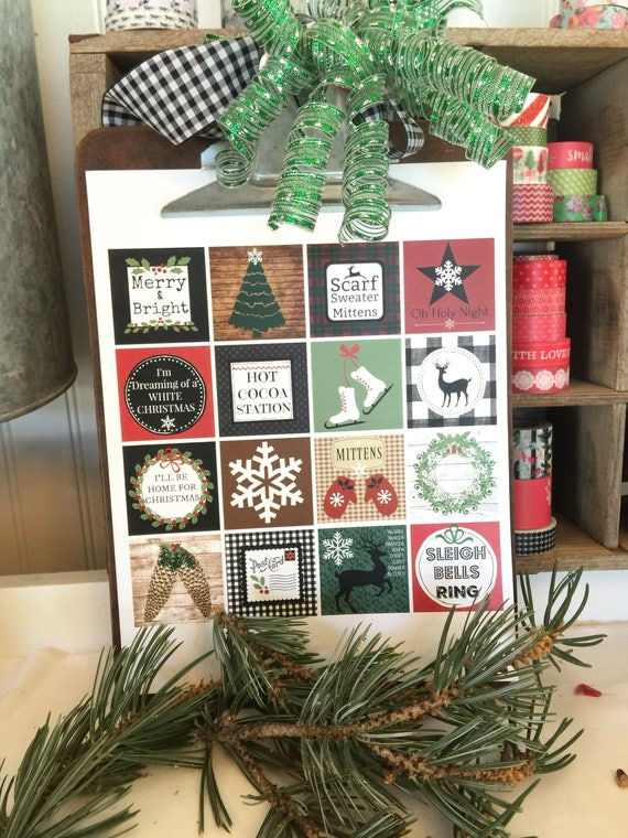 Woodland Rustic Christmas  Themed Printable Sticker Square Page - Print and Cut