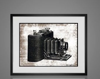 Framed Wall Art - Free Shipping - VINTAGE CAMERA PRINT - Wall Art Sets - Available In 4 Sizes - Choose Black or Antique White Frames -
