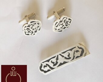 Tiebar and Cufflinks, Persian, Carpet