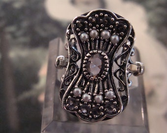Unique Sterling Silver Amethyst & Seed Pearl Ring Size 7.75 Victorian Design