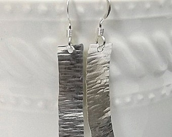 On Sale Hammered Silver Rectangle Earrings, Silver Bar Earrings, Hammered Silver Earrings, Modern Hammered Sterling Silver Rectangle Earring