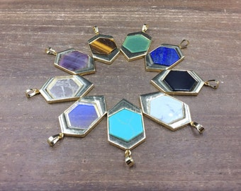 5pcs Hexagonal Gemstone Pendant Geometric Pendant Gold Pendant Wholesale Pendant Hexagon Pendant Necklace Making Supplies